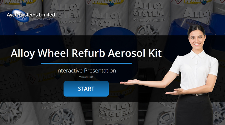 Interact with the Alloy Wheel Refurb Aerosol Kit interactive presentation