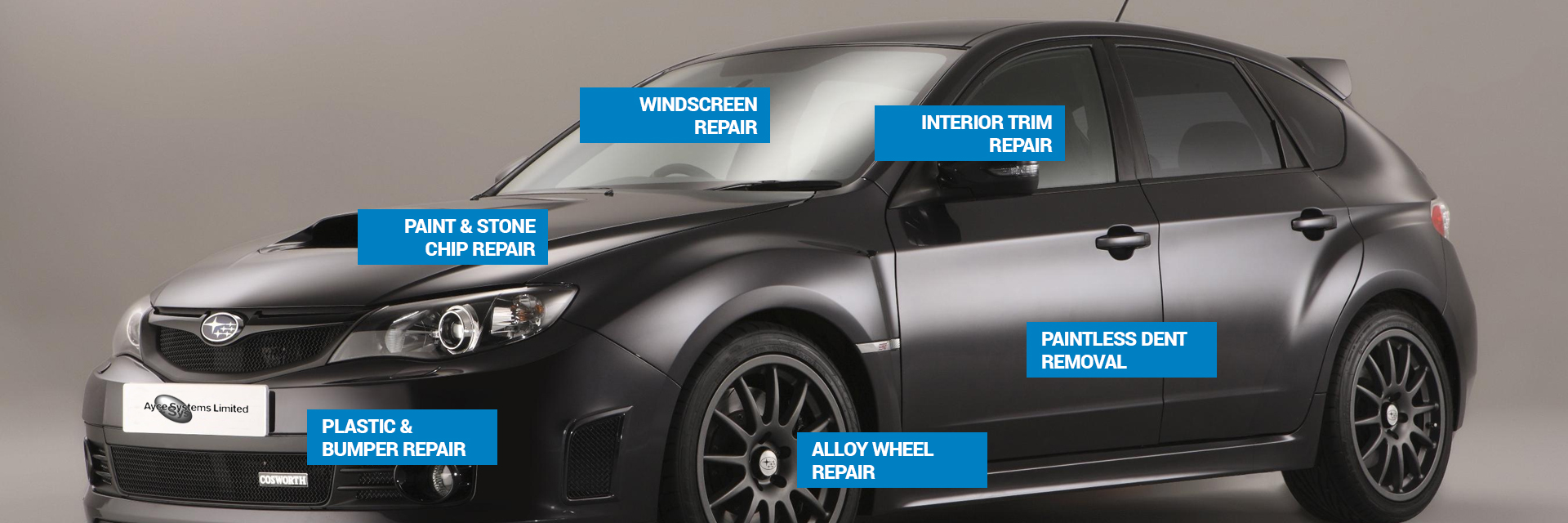 A range of areas covered by Ayce Systems Smart Repair Systems and Products